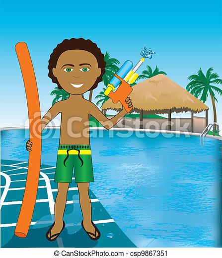 Pool Mixed Afro Boy - csp9867351