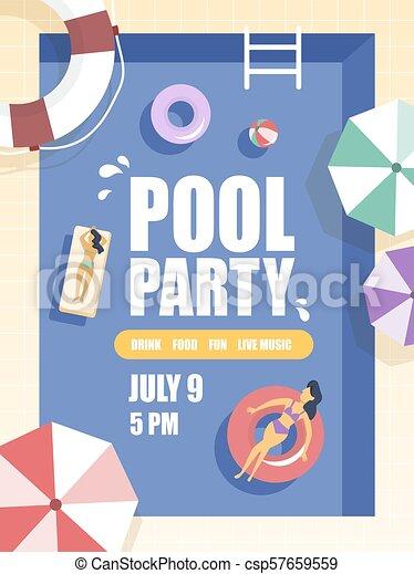 Pool party illustration. - csp57659559