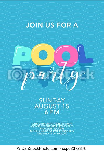 Pool party. Pool party poster with inflatable rings in swimming pool ...