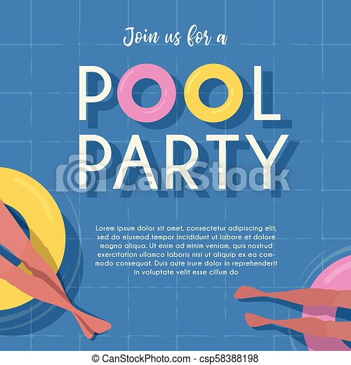 Pool party invitation template top view pool background people pool party invitation template top view pool background people relaxing in the pool summer water maxwellsz