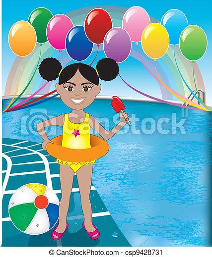 Pool Popsicle Girl - csp9428731