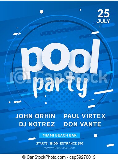 pool summer party invitation banner flyer design water pool party