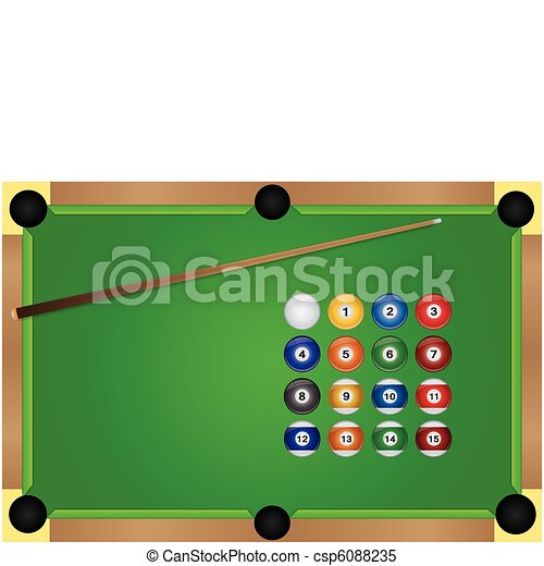 Image Of A Pool Table And Billiard Balls Clipart Vector