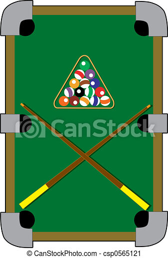 Pool Table With A Rack And Fifteen Balls Clipart