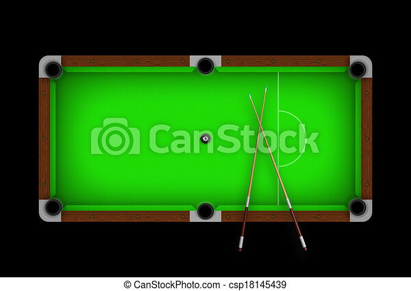 Green Pool Table With Ball 8 In The Middle Drawings