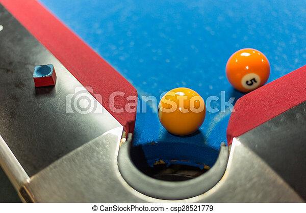 Pool table during game - csp28521779