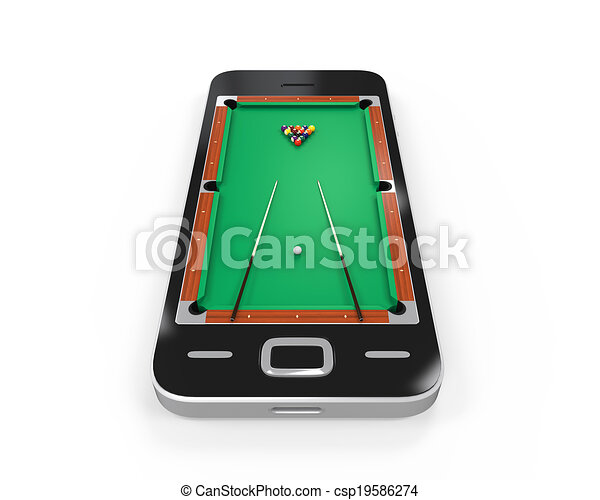 Pool Table In Mobile Phone Isolated On White Background D Render - Mobile pool table