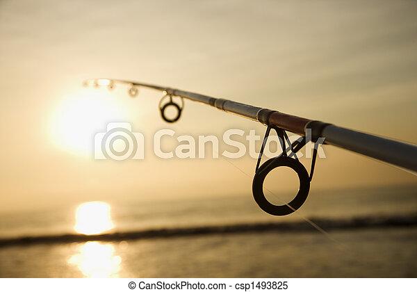 pool, visserij, sunset. - csp1493825