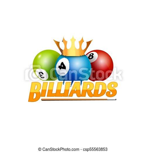 Poolroom Billiards Game Logo Icon Club Template Emblem Design