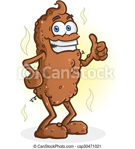 Poop Thumbs Up Cartoon Character A Smelly Chunk Of Brown Poop