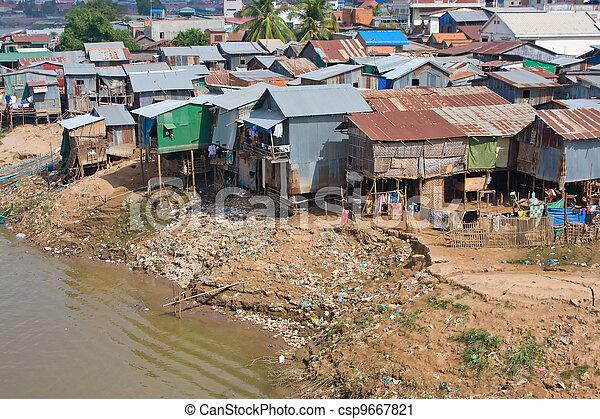 Poor district in Phnom Penh, Cambodia - csp9667821