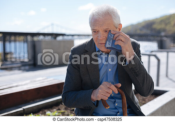 Image of: Donate Poor Old Man Crying Outdoors Csp47508325 Can Stock Photo Poor Old Man Crying Outdoors Do Not Offend The Elderly People Old