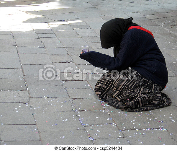 poor old woman begging on a street in venice  - csp5244484