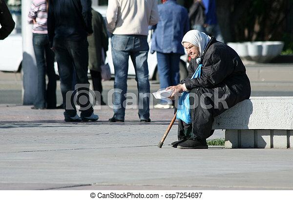 Poor old woman - csp7254697
