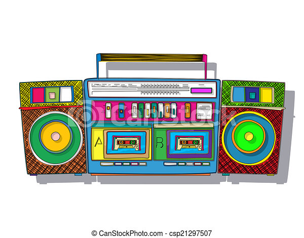 vintage stereo double tape cassette player pop art boombox vector rh canstockphoto com 80s boombox vector 80s boombox vector