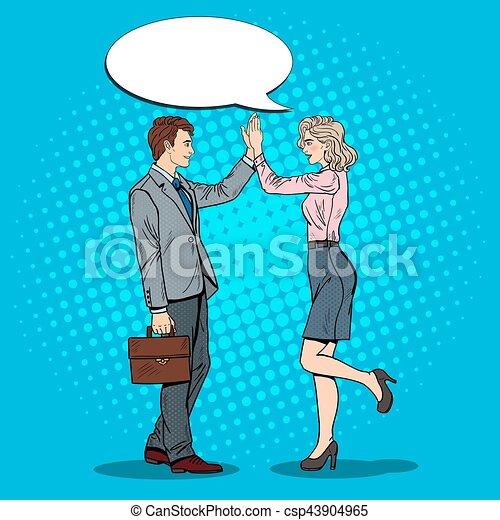 Pop Art Businessman Giving High Five to Business Woman. Vector illustration - csp43904965