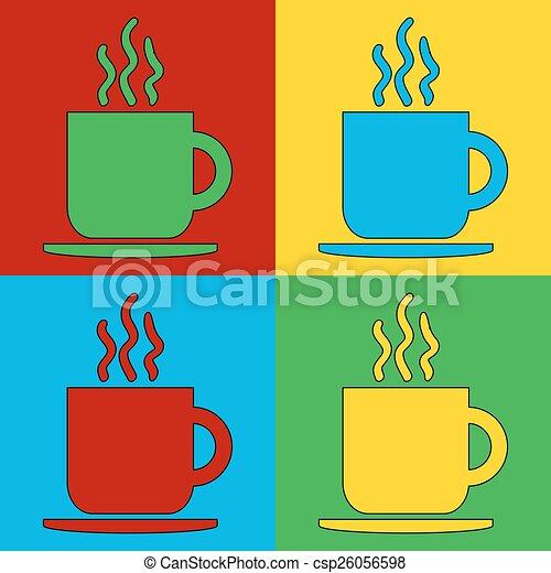 Pop Art Coffee Cup Symbol Icons Vector Illustration Eps Vectors
