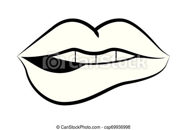 Pop Art Comic Lips Cartoon Mouth Woman Smiling Pop Art Comic Cartoon In Black And White