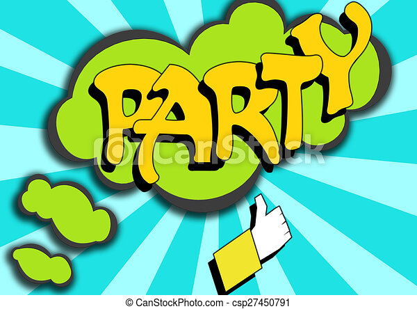 pop art comics icon with party word image with hi res rendered