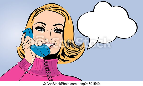 pop art cute retro woman in comics style talking on the phone - csp24891540