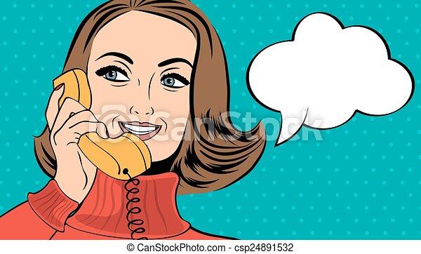 pop art cute retro woman in comics style talking on the phone - csp24891532