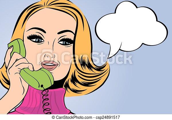 pop art cute retro woman in comics style talking on the phone - csp24891517