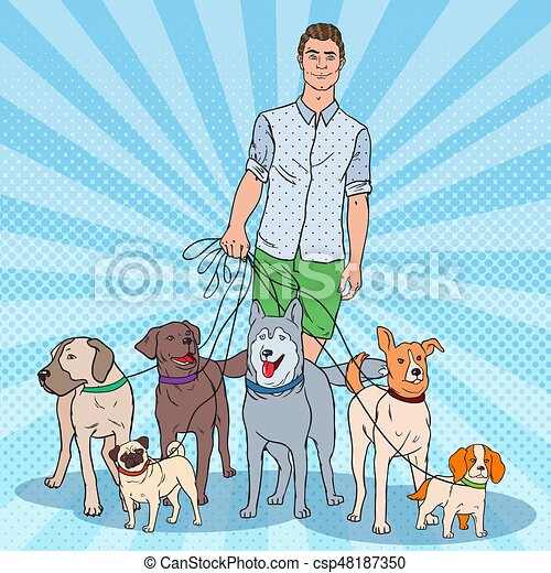 Pop Art Dog Walker  Young Man Walking with many Dogs  Vector illustration