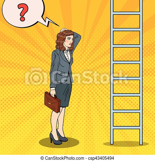 Pop Art Doubtful Business Woman Looking Up at Ladder. Vector illustration - csp43405494