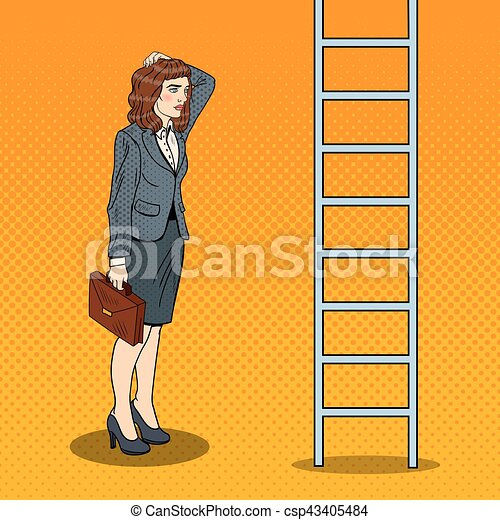 Pop Art Doubtful Business Woman Looking Up at Ladder. Vector illustration - csp43405484
