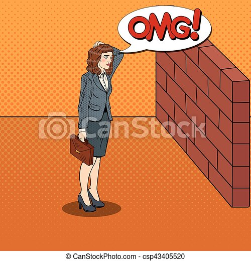 Pop Art Doubtful Business Woman Standing in Front of a Brick Wall. Vector illustration - csp43405520