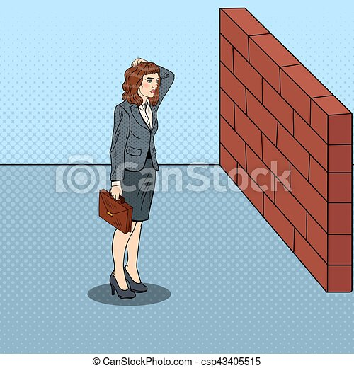 Pop Art Doubtful Business Woman Standing in Front of a Brick Wall. Vector illustration - csp43405515
