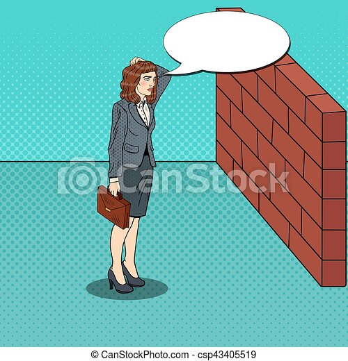 Pop Art Doubtful Business Woman Standing in Front of a Brick Wall. Vector illustration - csp43405519