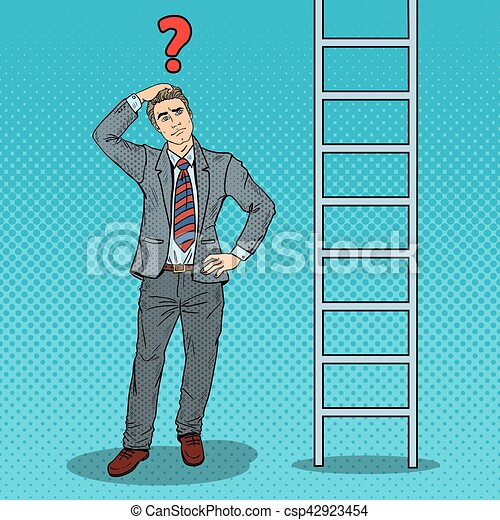 Pop Art Doubtful Businessman Looking Up at Ladder. Vector illustration - csp42923454