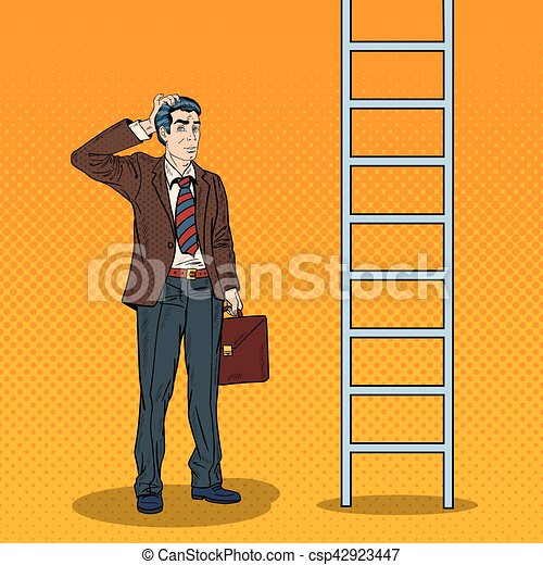 Pop Art Doubtful Businessman Looking Up at Ladder. Vector illustration - csp42923447