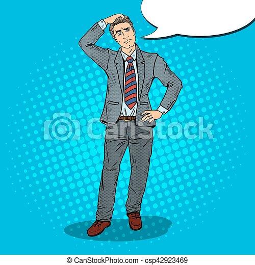 Pop Art Doubtful Businessman Making Decision. Vector illustration - csp42923469