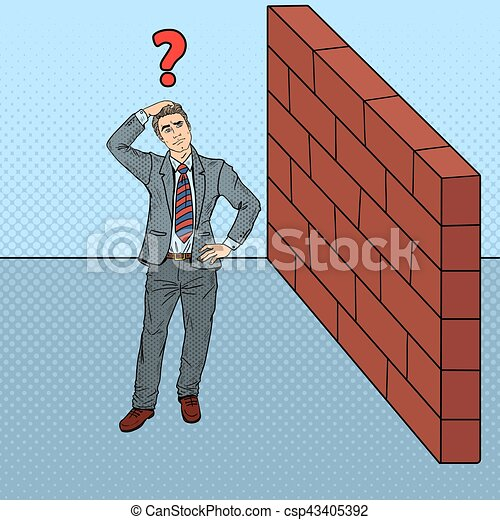 Pop Art Doubtful Businessman Standing in Front of a Brick Wall. Vector illustration - csp43405392