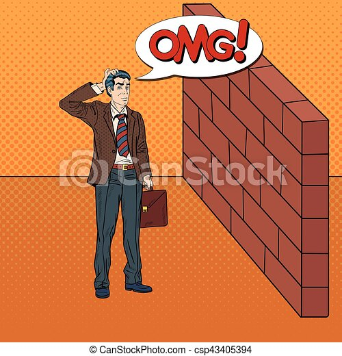 Pop Art Doubtful Businessman Standing in Front of a Brick Wall. Vector illustration - csp43405394
