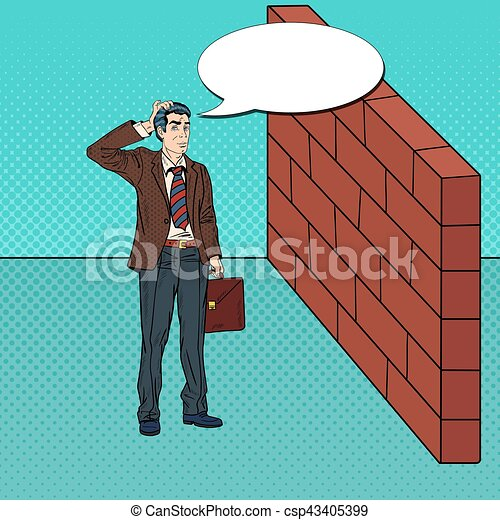 Pop Art Doubtful Businessman Standing in Front of a Brick Wall. Vector illustration - csp43405399