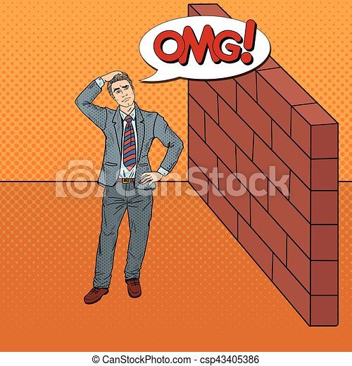 Pop Art Doubtful Businessman Standing in Front of a Brick Wall. Vector illustration - csp43405386