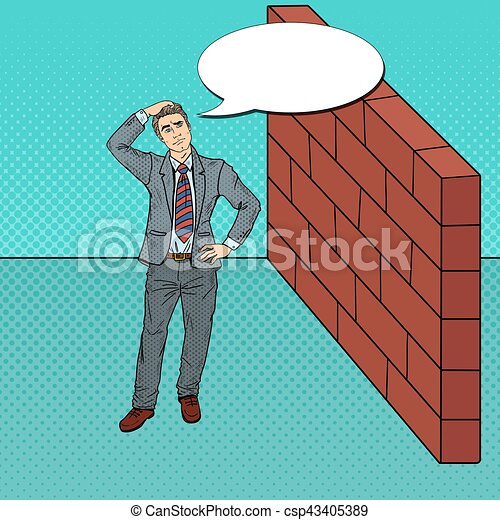Pop Art Doubtful Businessman Standing in Front of a Brick Wall. Vector illustration - csp43405389