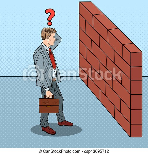 Pop Art Doubtful Businessman Standing in Front of a Brick Wall. Vector illustration - csp43695712