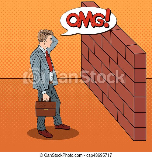 Pop Art Doubtful Businessman Standing in Front of a Brick Wall. Vector illustration - csp43695717