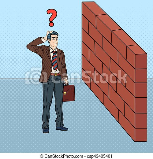 Pop Art Doubtful Businessman Standing in Front of a Brick Wall. Vector illustration - csp43405401