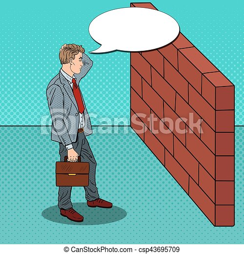 Pop Art Doubtful Businessman Standing in Front of a Brick Wall. Vector illustration - csp43695709
