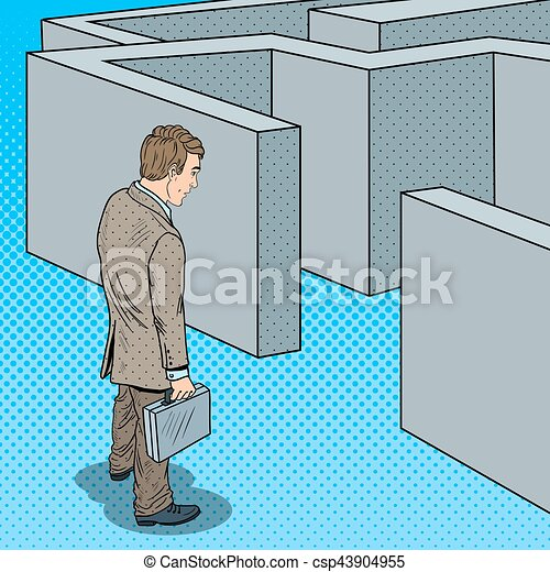 Pop Art Doubtful Businessman with Briefcase Standing in Front of Labyrinth. Vector illustration - csp43904955