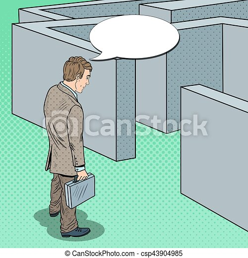 Pop Art Doubtful Businessman with Briefcase Standing in Front of Labyrinth. Vector illustration - csp43904985