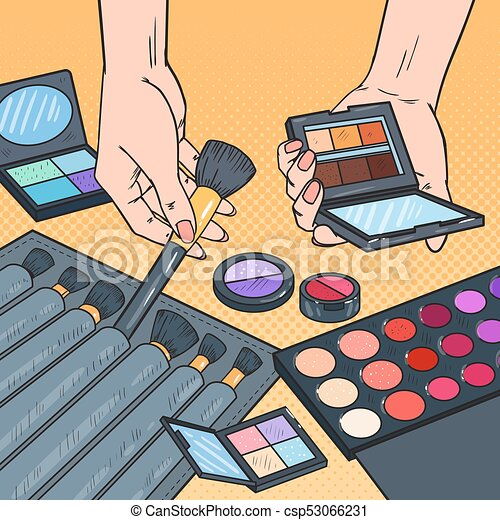 Pop Art Female Hands With Cosmetics Professional Make Up Beauty