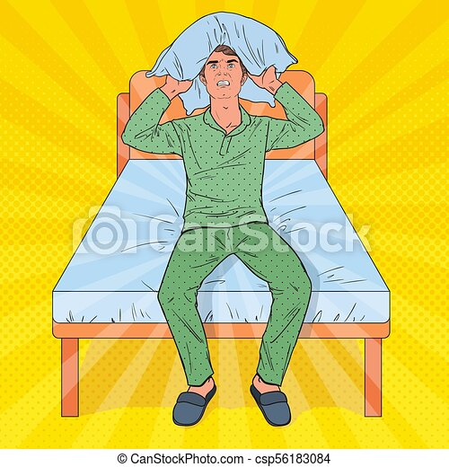 Pop Art Frustrated Man Closing Ears with Pillow. Stressful Morning Situation. Guy Suffering from Insomnia. Vector illustration - csp56183084