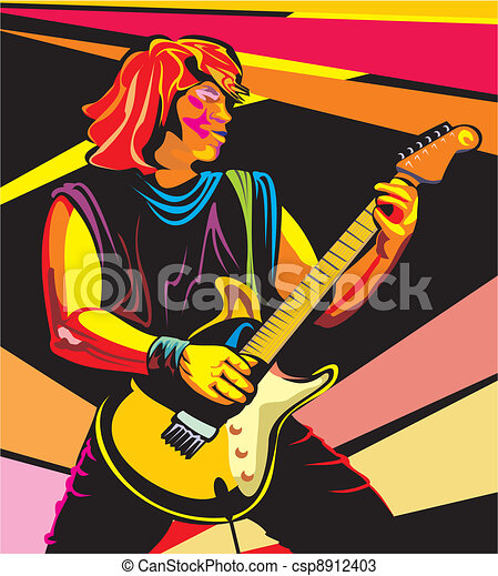 Pop Art Guitarist Play Guitar Electric Guitar Rock And