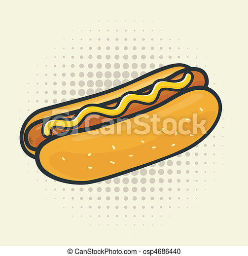 Hot Dog Simple Drawing